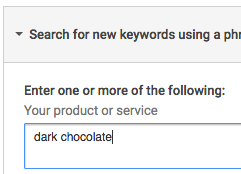 Entering 'dark chocolate' as a keyword example