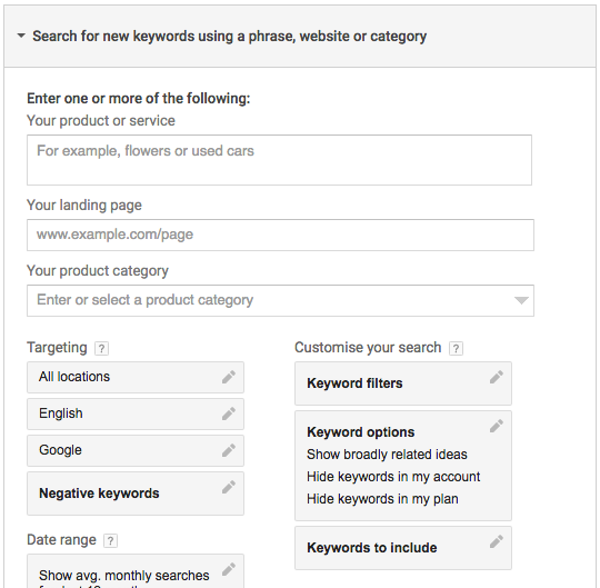 You'll see a number of options you can use for the keyword research