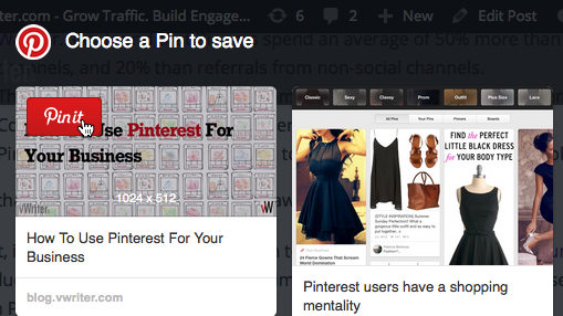 Pinning content to Pinterest
