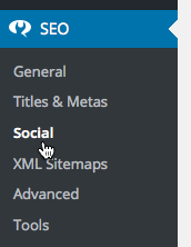 Select SEO > Social from the menu in WordPress
