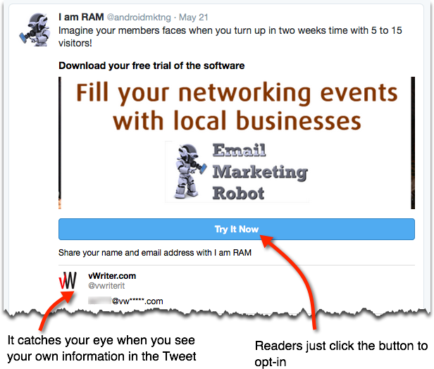 Example of Twitter's Lead Generation Card