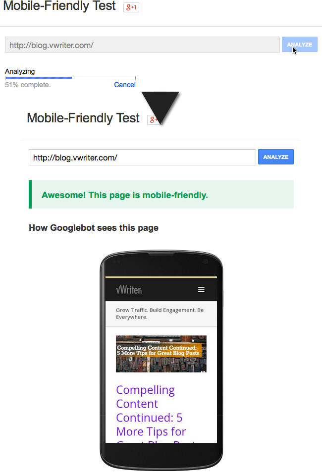 Use Google's mobile-friendly test to check your own website