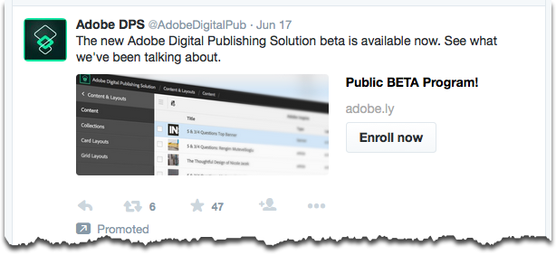 An example of Twitter's Website Card, using the Enroll Now button