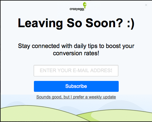 Use of simple, direct language in a call to action used by crazyegg.