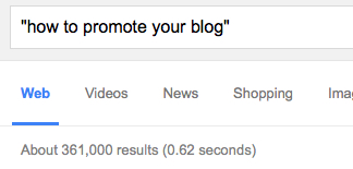 How to promote your blog - Google results