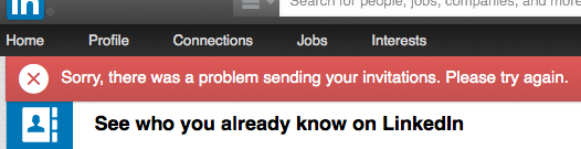 'There was a problem' - LinkedIn error message