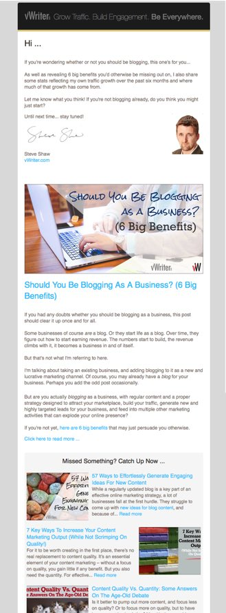 Example of an email to send out when you're blogging as a business