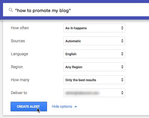 "Google Alert for ""how to promote my blog"""