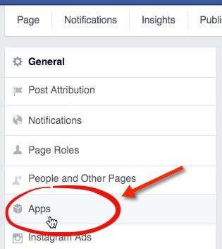 Facebook - select Apps from the Settings