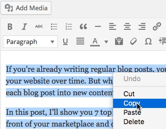 You might find it easier to copy from the editing facility for the blog post