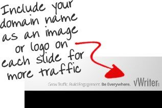 Include your domain name as an image on each slide