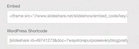 Use the embed code or shortcode to embed the SlideShare
