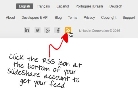 Locate your SlideShare RSS feed