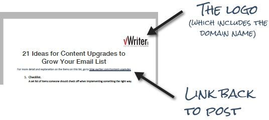 How to create content upgrades - add your logo and a link back to the post for future traffic.