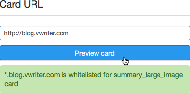 Use Twitter's card validation tool to check you have implemented Twitter Cards correctly
