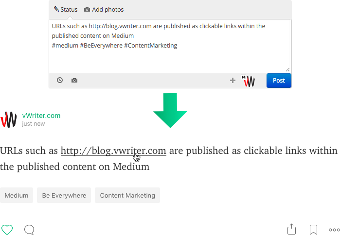 URLs are published as normal clickable links on Medium