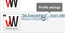 To adjust the profile's settings, click the link from the Social Profile Manager
