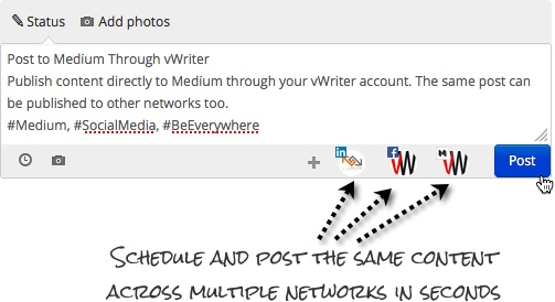 Schedule and post to Medium and other networks through vWriter