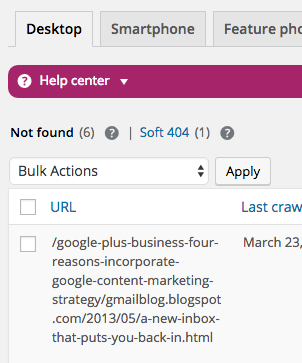 404 errors showing in Yoast