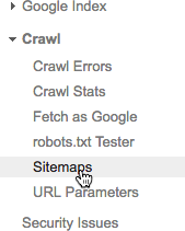 Click Sitemaps under the Crawl menu on the left