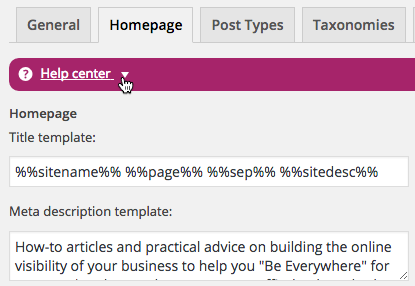 Set the home page title and meta description templates in Yoast