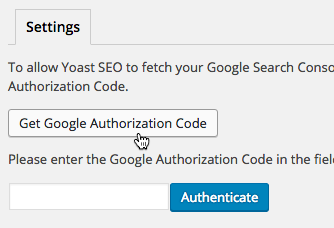 Click the button to get an Authorization Code from Google