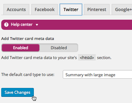Click the Twitter tab to update Twitter card information within Yoast's SEO plugin