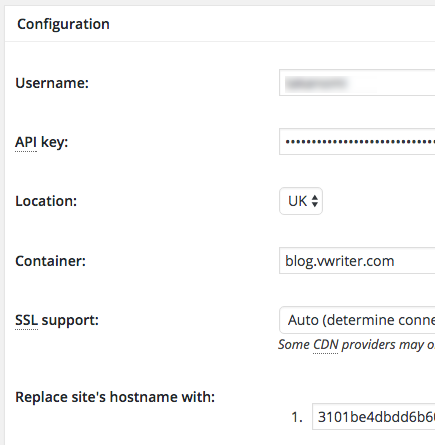 Configure your CDN settings within W3 Total Cache