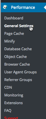 You'll see a Performance menu within WordPress after setting up W3 Total Cache