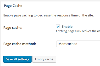 Enable page cache and select the method required