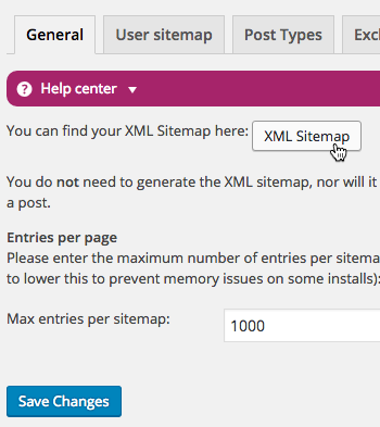 Click the button to view the XML SItemap provided by Yoast after activating