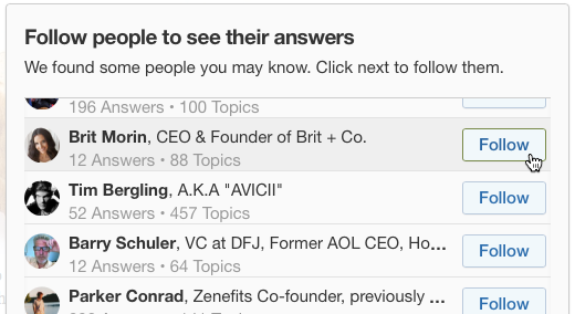 Choose people you want to follow on Quora