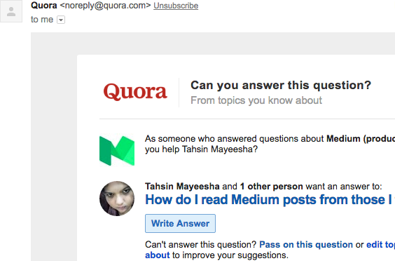 Example of a notification email sent by Quora