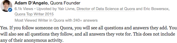 Adam D'Angelo shares what following means on Quora