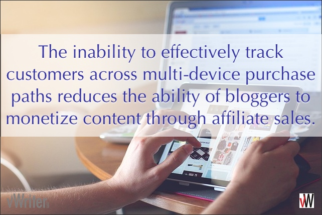 The inability to effectively track customers across multi-device purchase paths reduces the ability of bloggers to monetize content through affiliate sales.