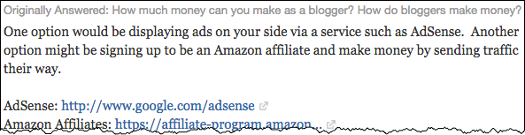 A common response on Quora about how to monetize a blog effectively