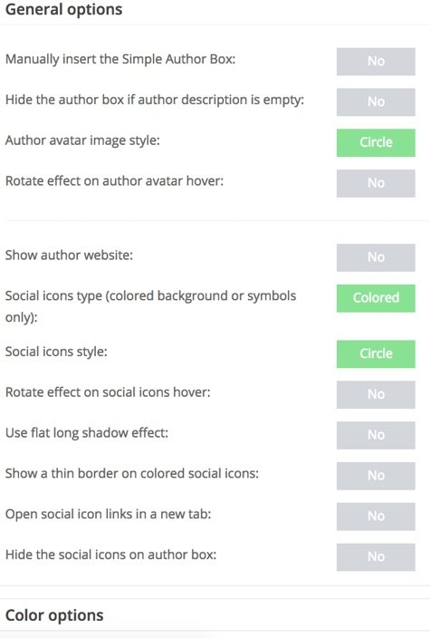 There are lots of different settings available within the Simple Author Box plugin