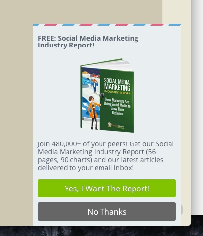SocialMediaExaminer uses a corner popup to attract leads