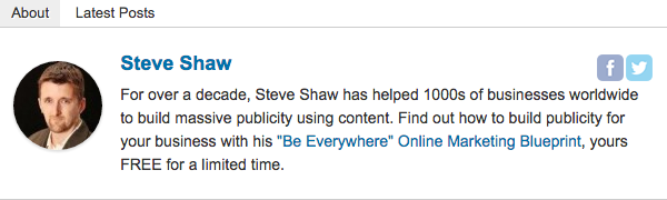 Example of an author bio using Starbox plugin