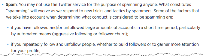 Twitter's rules on following and unfollowing people