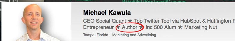 Mike Kawula also uses his author status to build authority at LinkedIn