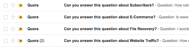 Quora send you notifications about questions other Quora users have asked you to answer (A2As)