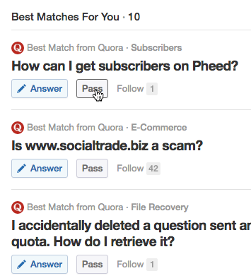 Quora selects suitable questions for you