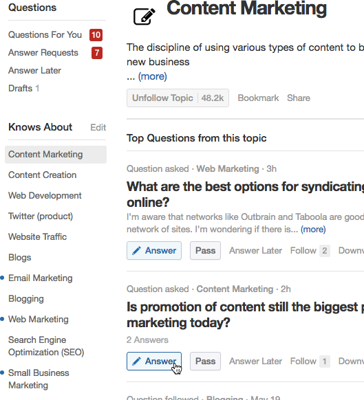 Click through on topics you know about to find suitable questions to answer