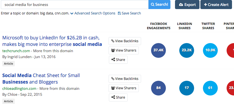 Searching on BuzzSumo for content with high social engagement
