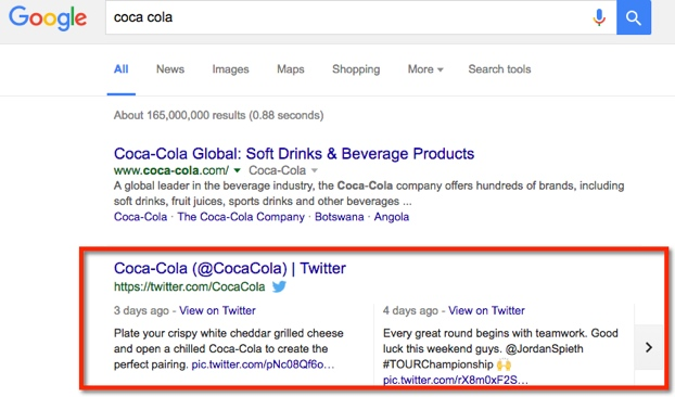 Content on Twitter can also show on SERPs