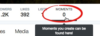 Moments link on your Twitter profile