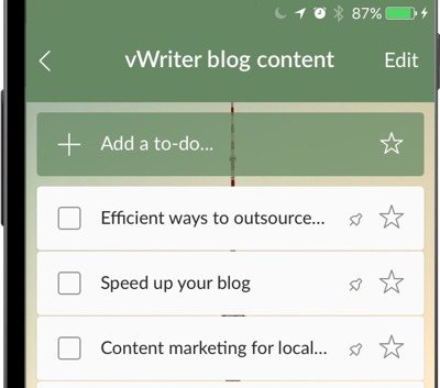 Use Wunderlist as an idea bank for your content calendar
