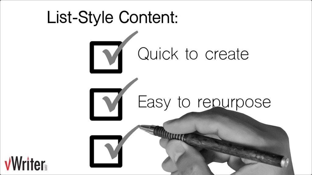 List-style content is quick to create and easy to repurpose