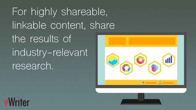 For highly sharable, linkable content, share the results of industry-relevant research